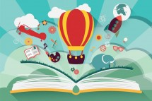 imagination concept open book with air balloon rocket and airplane flying out vector